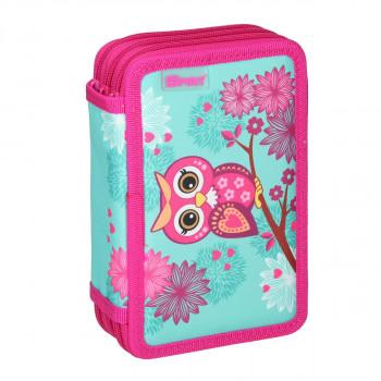 Empty pencil case ''OWL TURQUISE'', 3 zipper