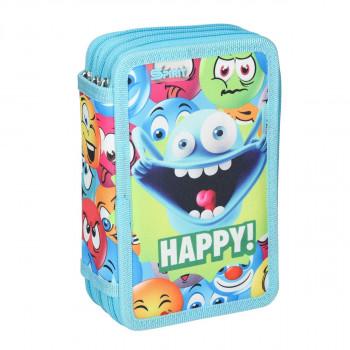 Empty pencil case ''HAPPY'', 3 zipper