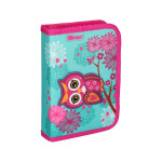 Pencil case 3D ''OWL TURQUISE'', 1-Zipper, 28-pcs