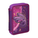 Empty pencil case ''BUTTERFLY PURPLE'', 2 zipper