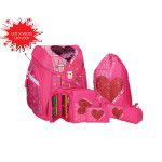 School bag set ''RED HEART'' Prolight 5-Pcs (LED buckle)