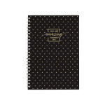 Spiral Notebook A5 Softc. Lines 80 Sheet Gold Style Black
