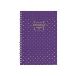 Spiral Notebook A5 Softc. Lines 80 Sheet Gold Style Purple
