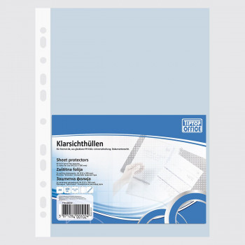 Punched Pockets, U Shape ''Premium'', PP A4 Crystal 70 micron
