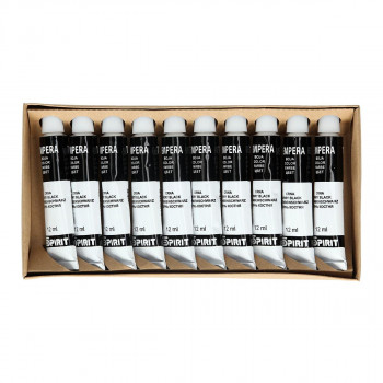 Tempera paint, black color, 12ml