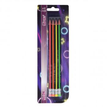 Wooden pencil ''Neon'', 4pcs blistercard
