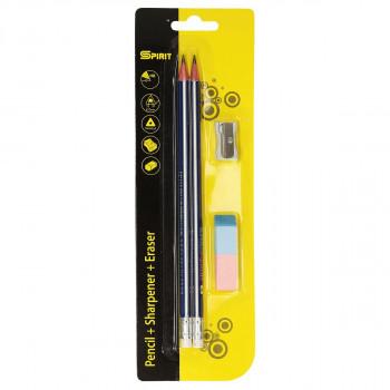 Set drvena olovka, gumica i zarezač, 4u1 blister