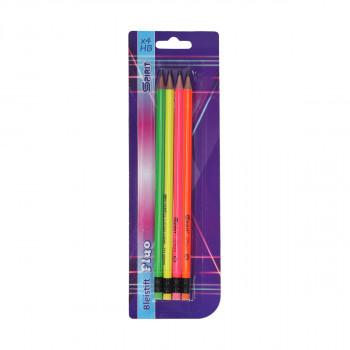 Drvena olovka sa gumicom ''Fluo round'', 4/1 blister