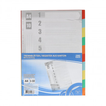 Dividers, 1-10, cardboard color, 227x297mm
