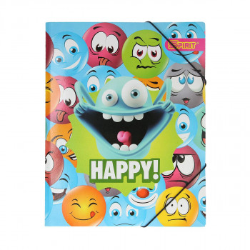 Elastic File '' Happy Smile 1''A4, with 3 flaps