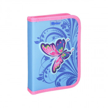 Pencil case 3D ''BUTTERFLY PINK'', 1-Zipper- 28-pcs