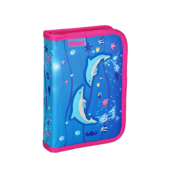 Pencil case 3D ''DOLPHINS'', 1-Zipper, 28-pcs
