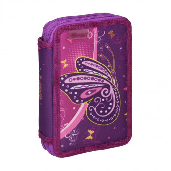 Pencil case ''BUTTERFLY PURPLE'', 2-Zipper, 28-pcs