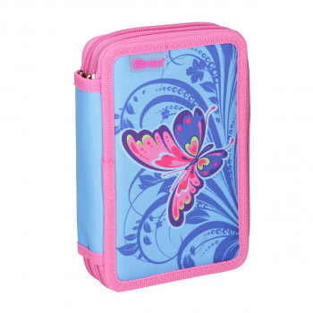 Pencil case ''BUTTERFLY PINK'', 2-Zipper, 28-pcs