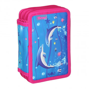 Pencil case ''DOLPHINS'', 3-Zipper, 28-pcs