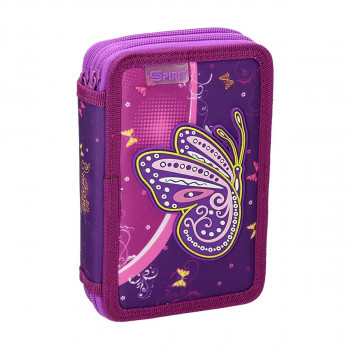 Pencil case 3D ''BUTTERFLY PURPLE'', 2-Zipper, 28-pcs