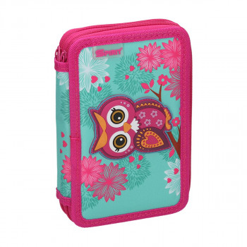 Pencil case 3D ''OWL RED'', 2-Zipper, 28-pcs