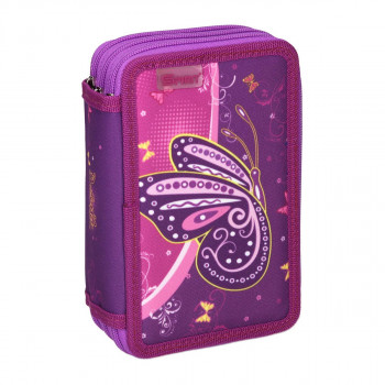 Empty pencil case ''BUTTERFLY PURPLE'', 3 zipper