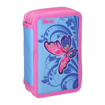 Empty pencil case ''BUTTERFLY PINK'', 3 zipper