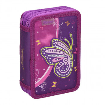 Pencil case 3D ''BUTTERFLY PURPLE'', 3-Zipper, 28-pcs