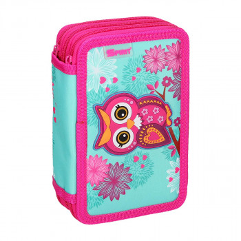 Pencil case 3D ''OWL RED'', 3-Zipper, 28-pcs