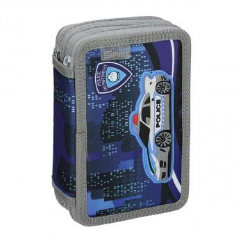 Pencil case 3D ''POLICE'', 3-Zipper, 28-pcs
