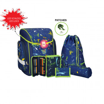 School bag set ''COSMO 02'', LED lock buckle