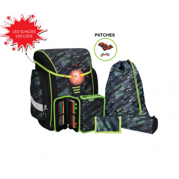 School bag set ''COSMO 04'', LED lock buckle