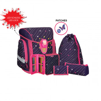 School bag set ''COSMO 10'', LED lock buckle