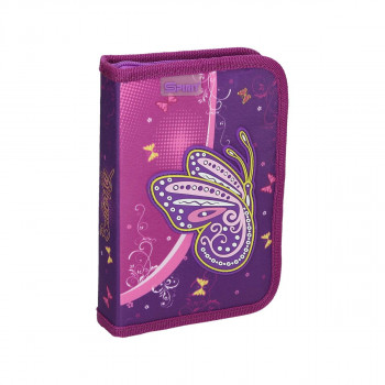 Pencil case 3D ''PURPLE BUTTERFLY'' 1 zipper, 50 parts