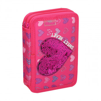 Pencil case 3D ''HEART'', 2-Zipper, 28-pcs