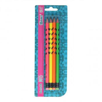 Wooden pencil ''NEON DOTS'' 4pcs blistercard
