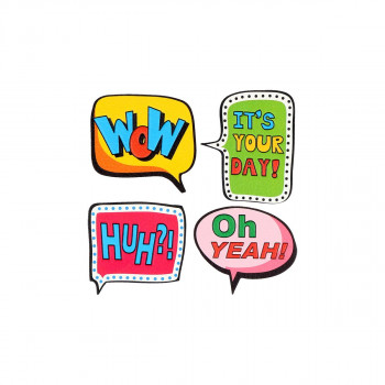 Sticker ''WOW & HUH'' Patch Me, 4pcs blistercard