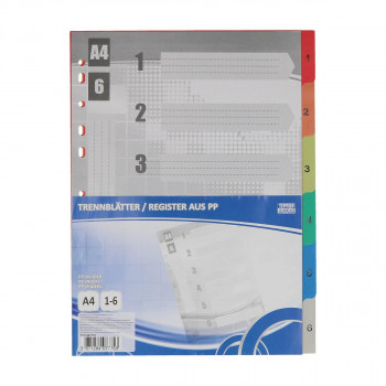 Dividers PP A4, 1-6 Sheets