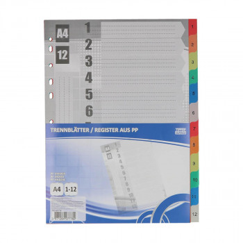 Dividers PP A4, 1-12 Sheets
