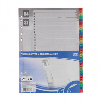 Dividers PP A4, 1-31 Sheets