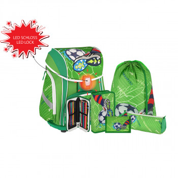 School bag set ''FOOTBALL GREEN 3D'' SMART 5-Pcs (LED buckle)