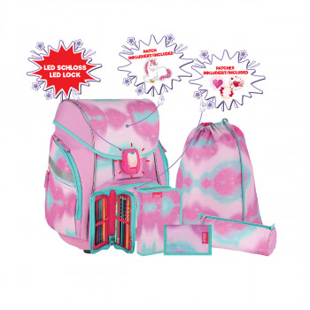 School bag set ''UNICORN LILA'' PRO LIGHT PREMIUM 7-Pcs (LED buckle)