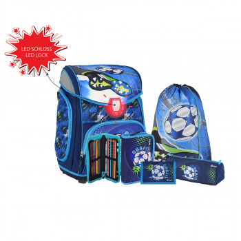 School bag set ''FOOTBALL BLUE'' MAXX 5-Pcs (LED buckle)