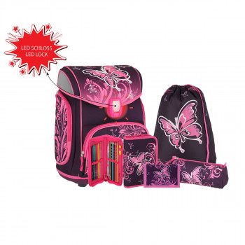 School bag set ''BUTTERFLY'' MAXX 5-pcs (LED buckle)