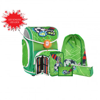 School bag set ''FOOTBALL GREEN'' MAXX 5-Pcs (LED buckle)