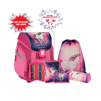 School bag set ''MAGIC UNICORN 3D'' PRO LIGHT PREMIUM 6-pcs (LED buckle)