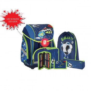 School bag set ''FOOTBALL GOAL 3D'' SMART 5-Pcs (LED buckle)