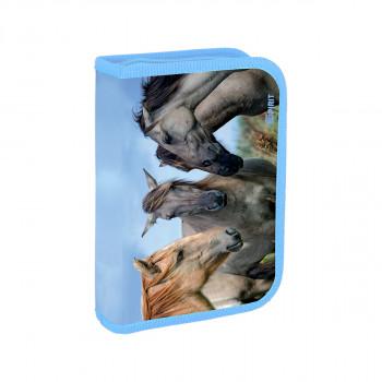 Pencil case ''HORSES'', 1-Zipper, 24-pcs