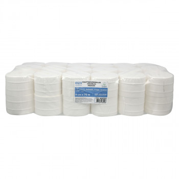 Toilet paper in rolls without inner core 70m