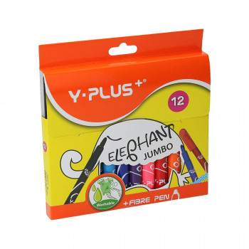Fiber pens ''Elephant Jumbo'', 12 colours