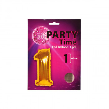 Balon Broj 1 roze zlatni 60cm