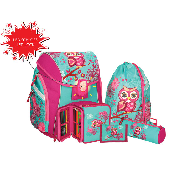 School bag set ''OWL'' Prolight 5-Pcs (LED buckle)