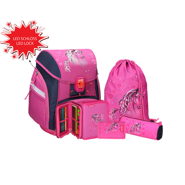 School bag set ''HORSE'' Prolight 5-Pcs (LED buckle)