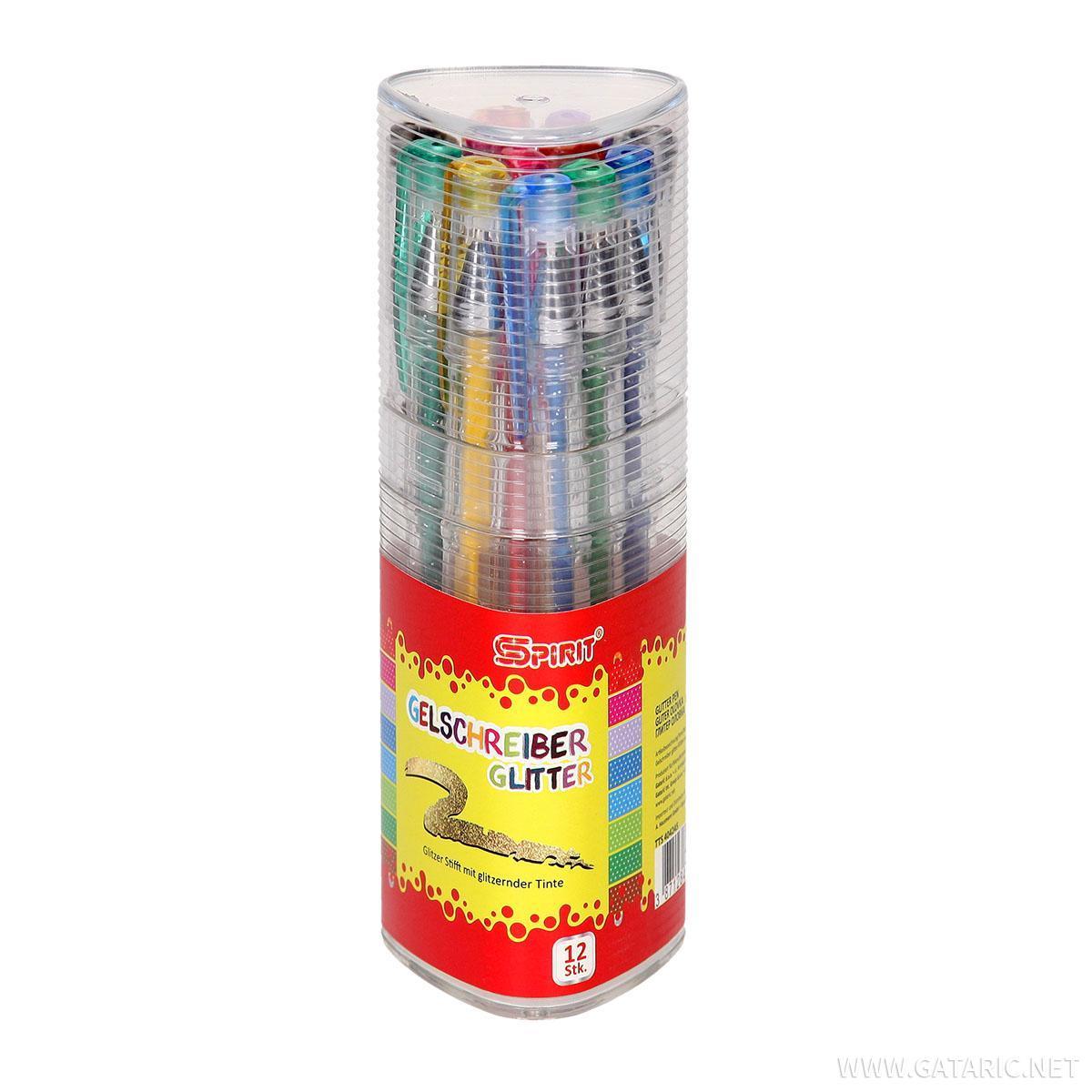 Gliter olovka, 12/1 PVC kutija